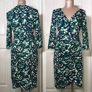Just Fab Printed wrap Dress 3/4 Sleeves Sz M